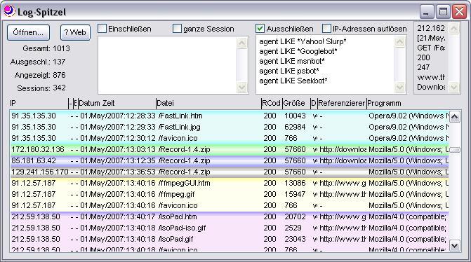 Screenshot für Log-Spitzel